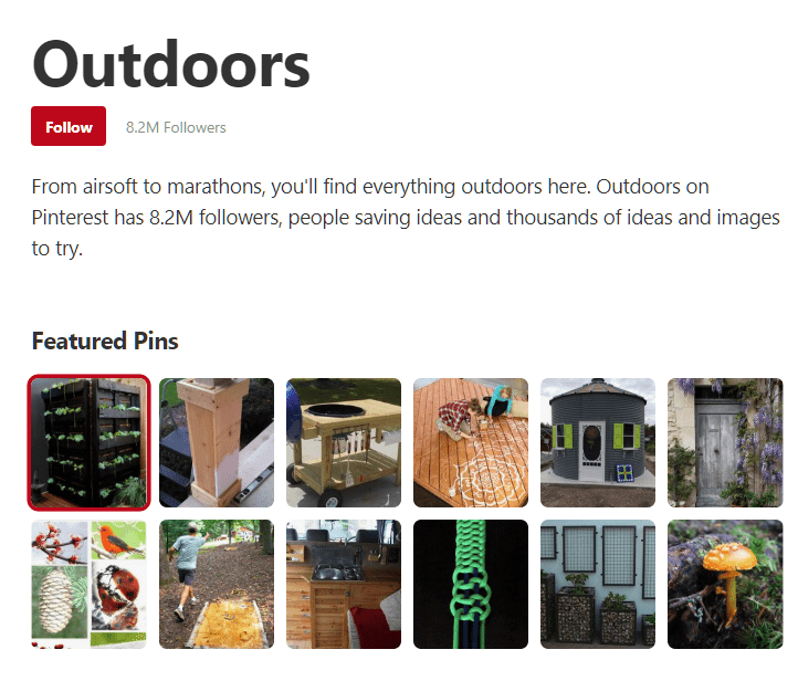 Pinterest Outdoor Category