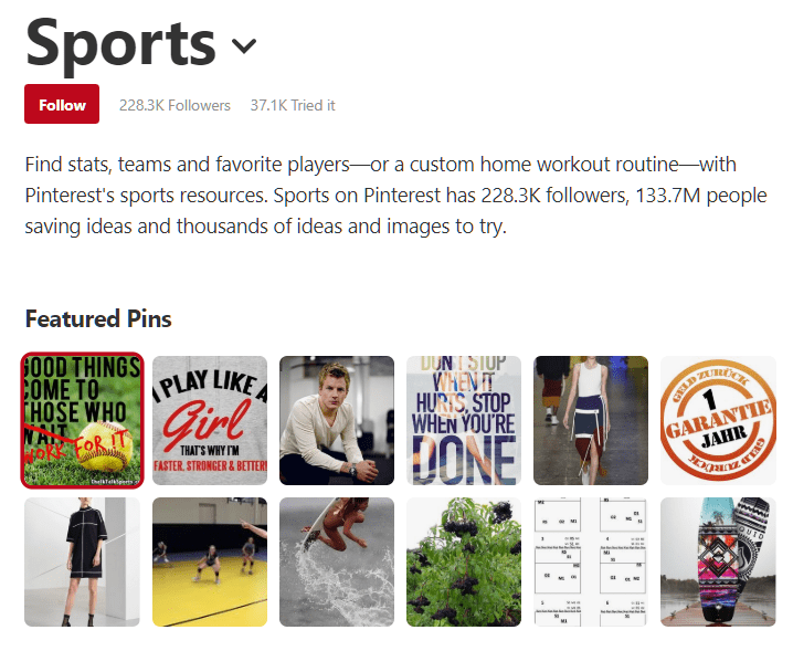 Pinterest Sports Category